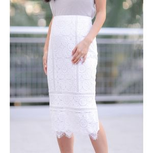 Banana Republic White Lace Skirt